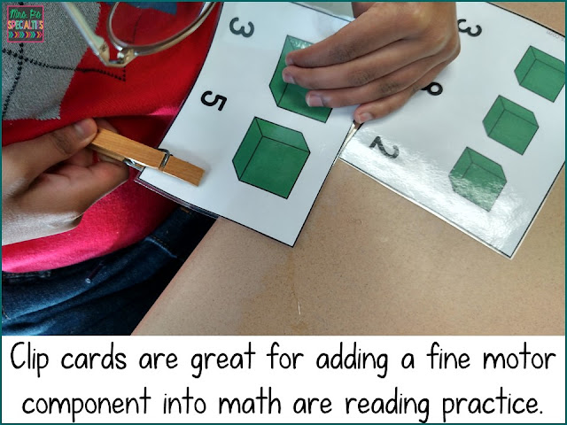 clip cards, work boxes, math skills, special education