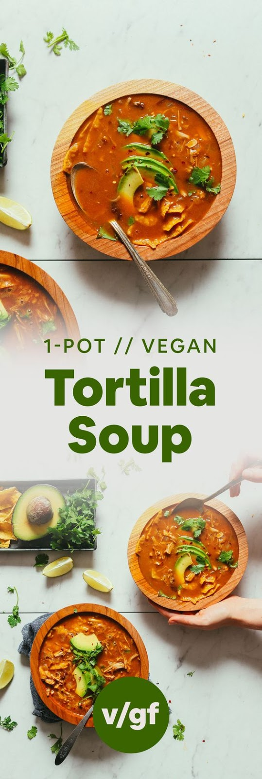 BROTHY Delicious Vegan Tortilla Soup with Jackfruit! 10 ingredients, BIG flavor, so satisfying! #dinner #mexican #tortilla #vegan #soup #minimalistbaker