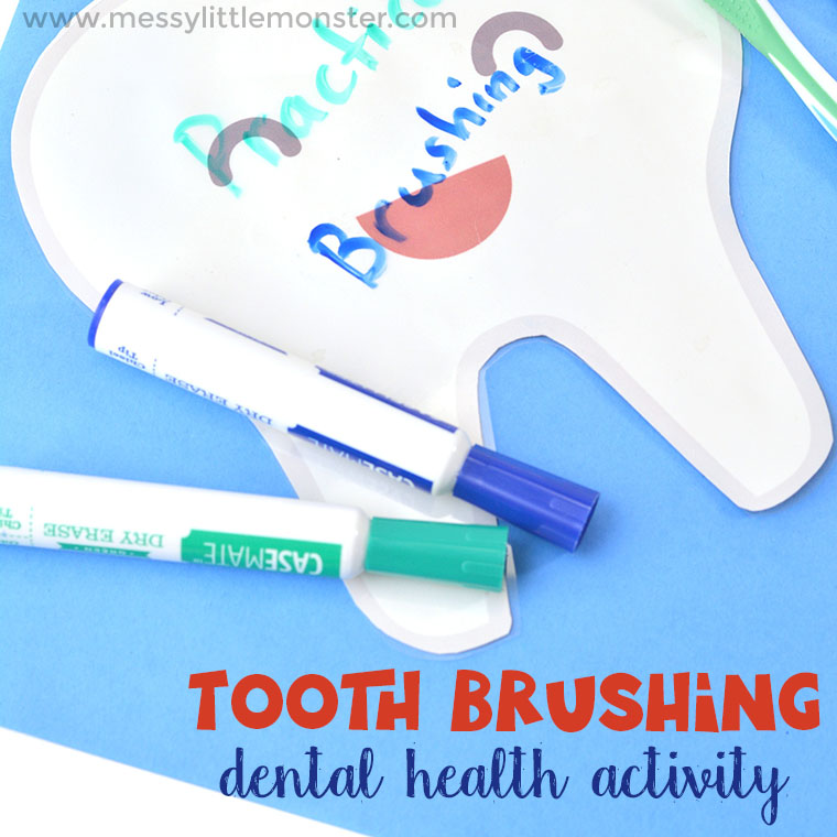 A fun hands on tooth brushing activity for preschoolers with free tooth printable! Dental activities for preschoolers will help encourage healthy tooth brushing habits.