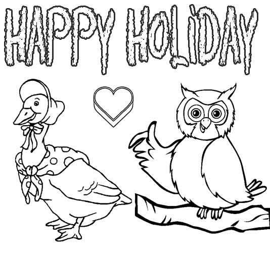 """Animals Coloring Pages """"Happy Holiday"""""""