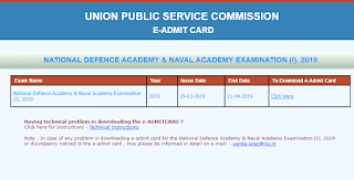 UPSC NDA NA(I) 2019 admit card Out - Download Now