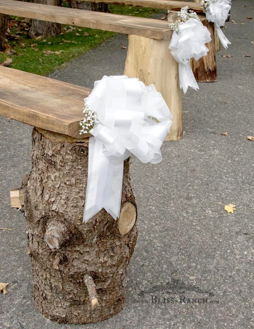 outdoor log wedding benches, Bliss-Ranch.com