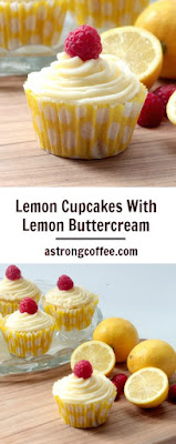 easy to make lemon cupcakes with lemon buttercream. Topped with a raspberry