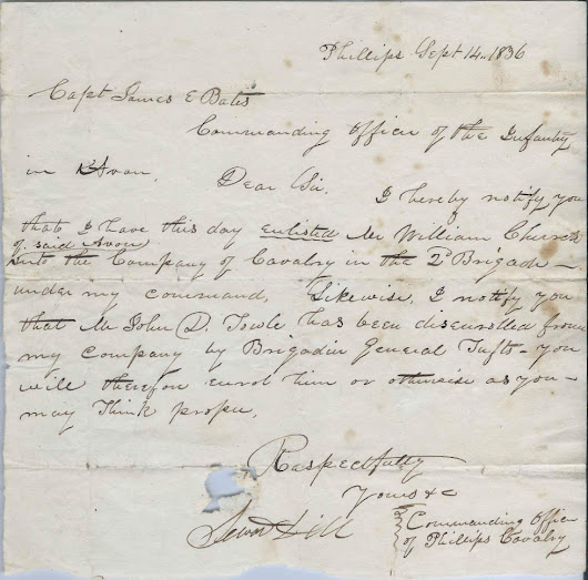 1836 Military Correspondence from Seward Dill, Commanding Officer of the Phillips Calvary of Phillips, Maine