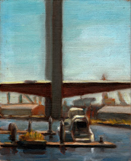 Oil painting of a large modern bridge with two large vertical pillars.  Below are dockside warehouses and a small boat in the foreground.