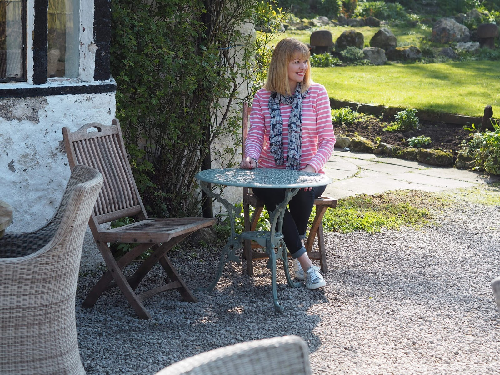A review of Beck Hall Hotel and Bistro, Malham, Yorkshire Dales. Outdoor seating area