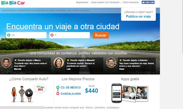 Blablacar.mx comparte auto en tus viajes y gana dinero en Mexico Guadalajara y monterrey 2016 2017 2018