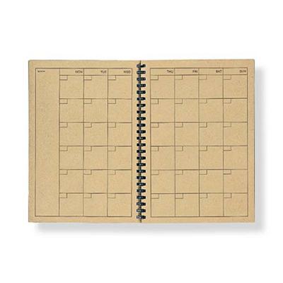 元々の再生紙クラフトデスクノート(スケジュール)・マンスリー