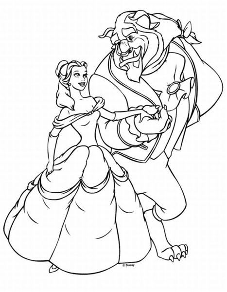 Princess belle beauty and the beast coloring pages for Princess belle printable coloring pages
