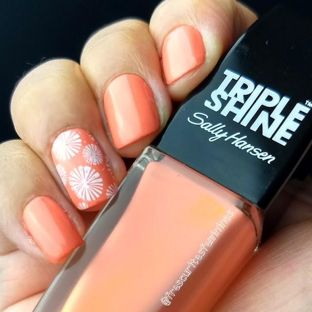 peach, sally hansen, frescurites femininas, nail polish, esmalte, nail stamp