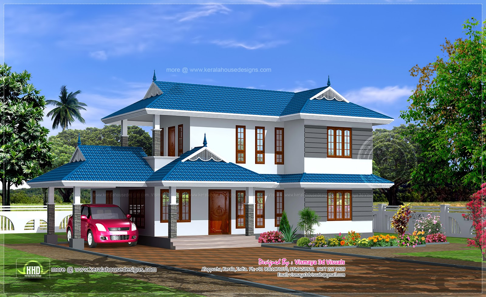 1895 sq ft 3 bed room kerala style villa house design plans for Kerala style villa plans