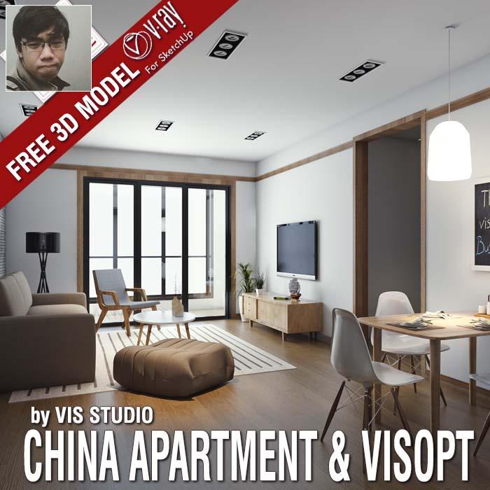 SKETCHUP TEXTURE: FREE SKETCHUP MODEL CHINA APARTMENT & VRAY VISOPT