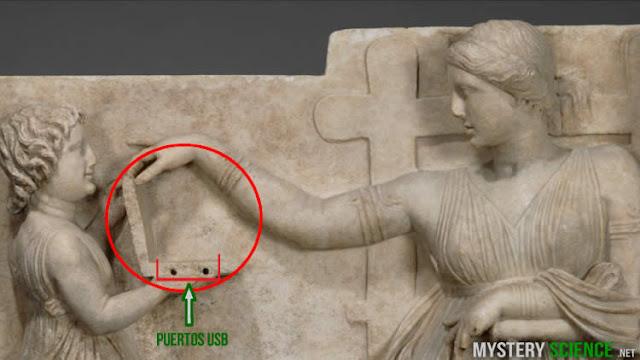 ¿Antigüa escultura griega con una laptop?