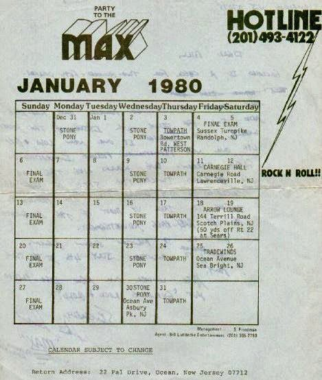 Max band club schedule January 1980