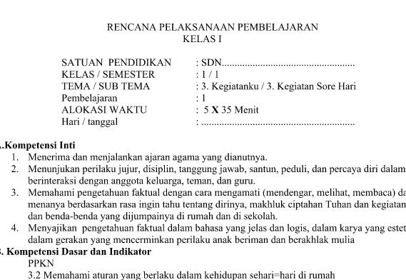 RPP Kurikulum 2013 SD Kelas 1 Revisi 2016 Tema 3 Sub Tema 3 Pembelajaran 1 Tahun Pelajaran 2016-2017
