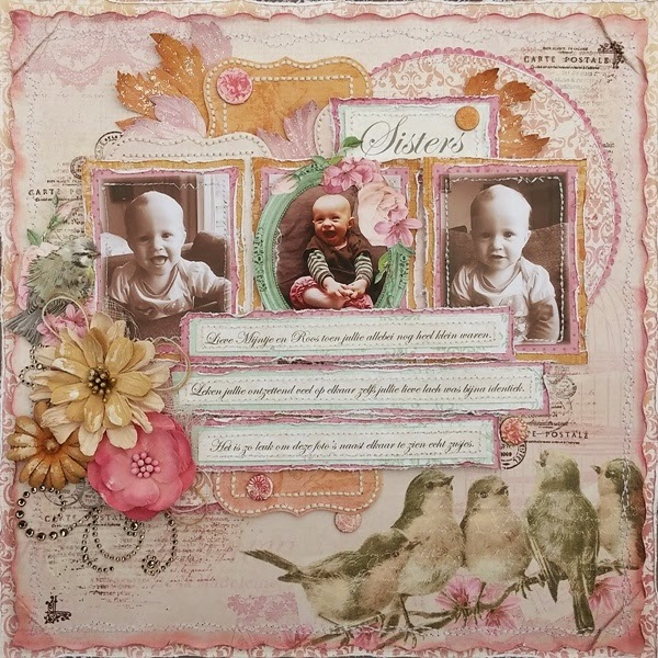 Sisters Scrapbook Page by Amy Voorthuis for BoBunny featuring Madeleine and the BoBunny November Sketch