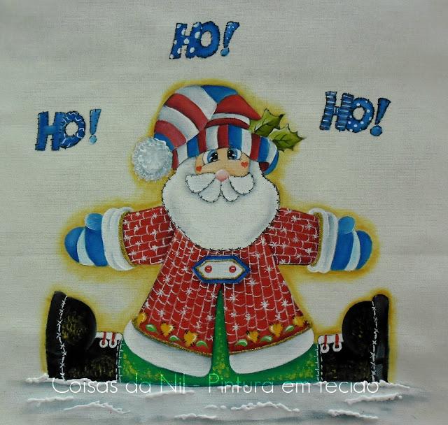pintura em tecido com tema natalino papai noel country
