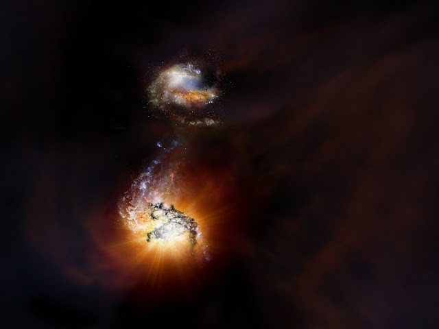 Duo of titanic galaxies captured in extreme starbursting merger