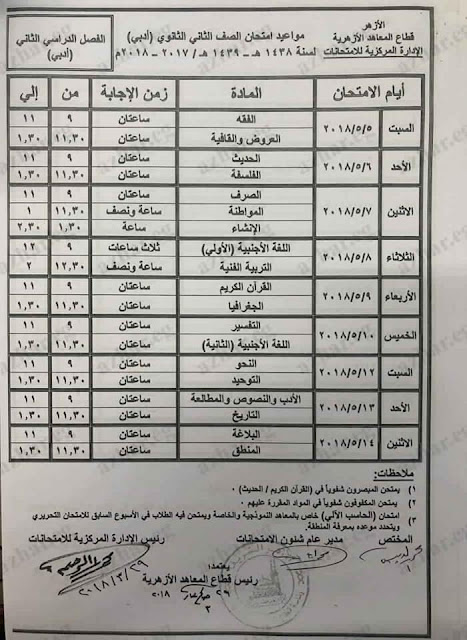 جدول امتحانات الترم الثانى للشهادة الثانويه والاعداديه والابتدائيه 2018 أخر العام (محافظة اسيوط)