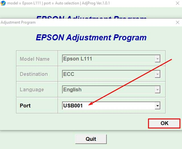 how to reset printer EPSON L111