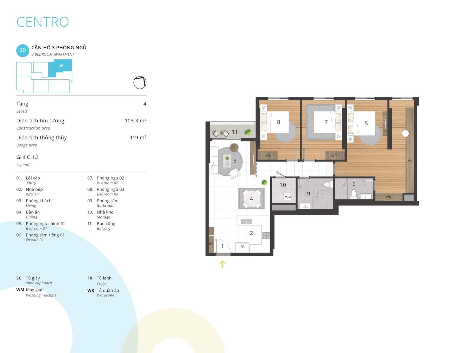 Mặt bằng căn hộ 3 phòng ngủ 119 m2 thông thủy tòa CENTRO