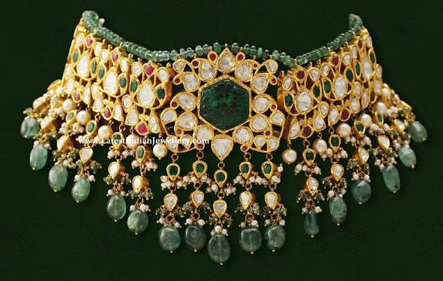Emerald Beads Lined Kundan Choker