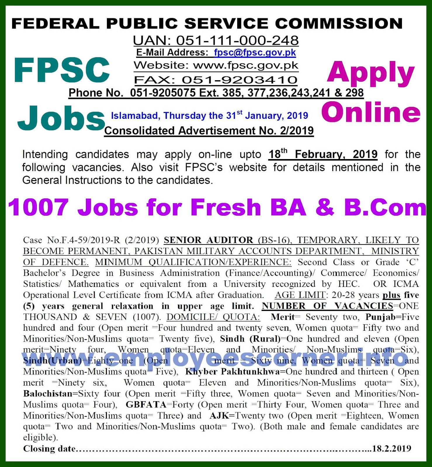 Ffpsc Calendrier 2019.1007 Fpsc Senior Auditor Jobs In Military Accounts Fpsc Jobs