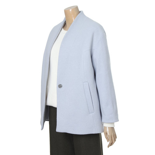 Collarless Single-Button Coat