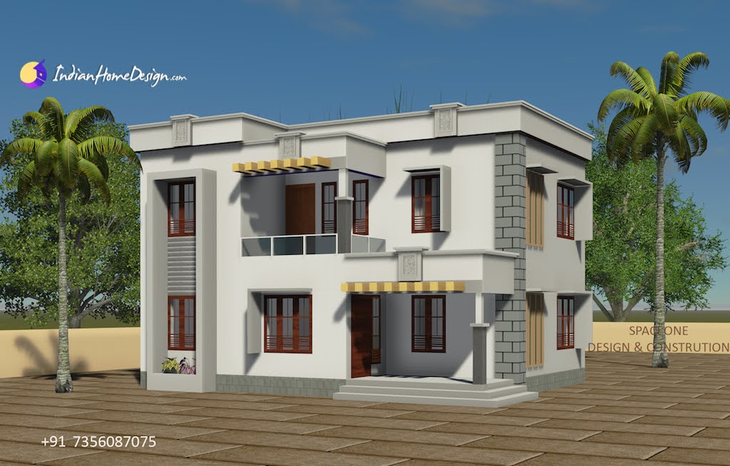 1610 sqft 4 Bhk flat roof house design by Spaceone Design and Construction