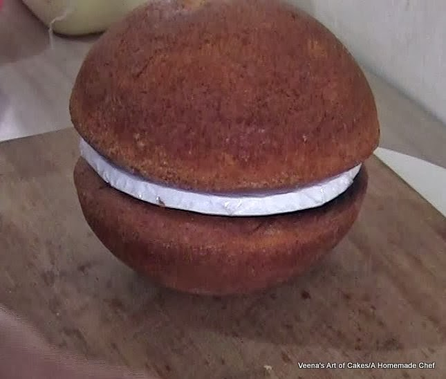 Progress photos of making a cake in the shape of a ball.