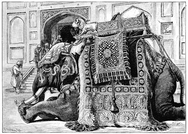 a John Lockwood Kipling pen illustration of a kneeling elephant with cab