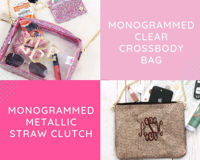 monogrammed metallic straw clutch