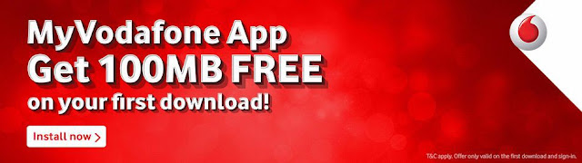 Download And Install My Vodafone App today and get free 100 mb 2g/3g data.