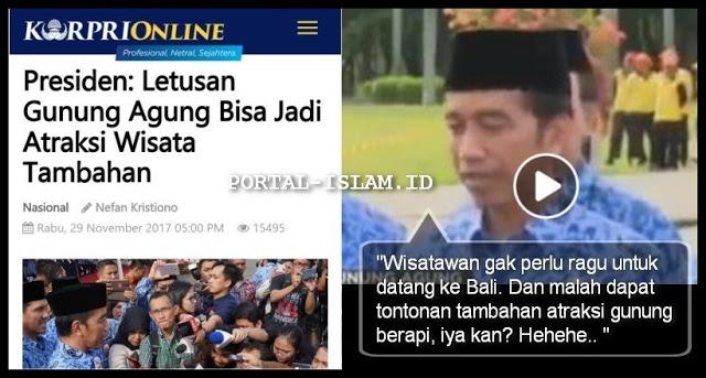 "Musibah Gunung Agung, Presiden Jokowi Malah Bilang Sebagai ""Tontonan Tambahan"""