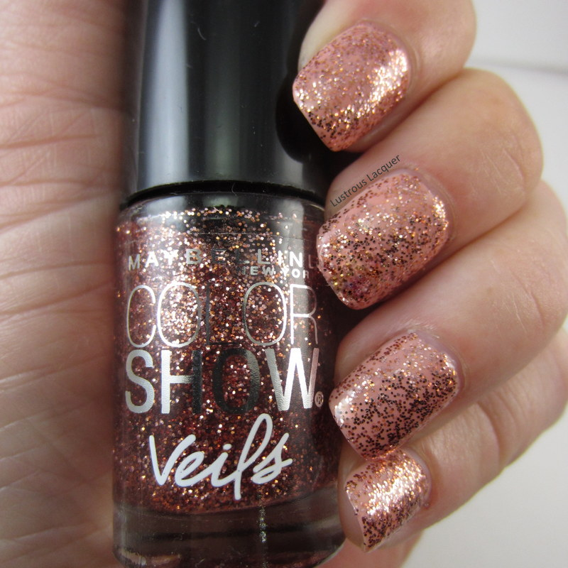 Rose gold glitter nail polish