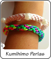 Kumihimo perlas y neon