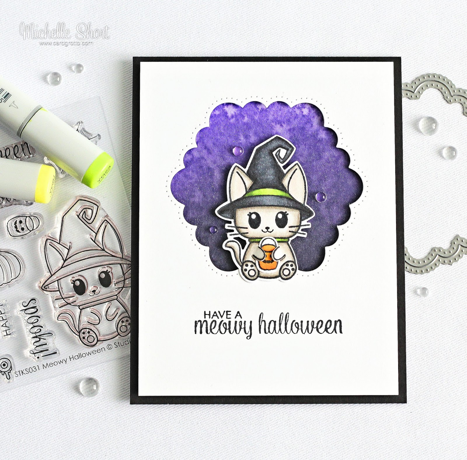 I Started Off By Stamping The Cat And Pumpkin Bucket Bag On To White Cardstock Using Memento Tuxedo Black Ink Coloured Images Copic Markers