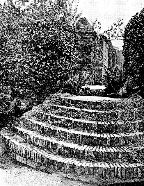 Photo of old brick garden stairs