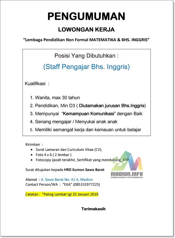 Lowongan Lembaga Pendidikan Kumon Madiun Madiun Info Madiun Raya