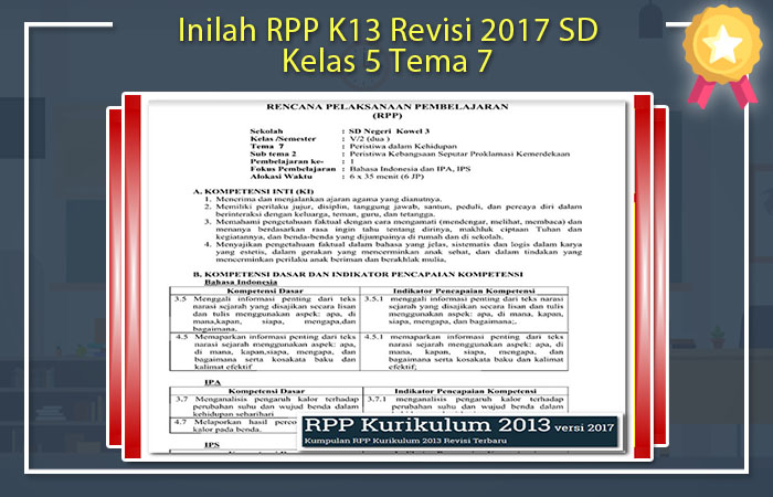RPP K13 Revisi 2017 SD Kelas 5 Tema 7