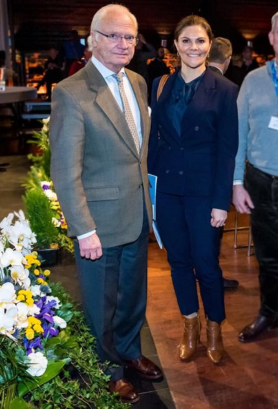 Crown Princess Victoria wore a navy blue suit by Tiger of Sweden. Tiger of Sweden Molena blazer. at a major winter resort in Sweden