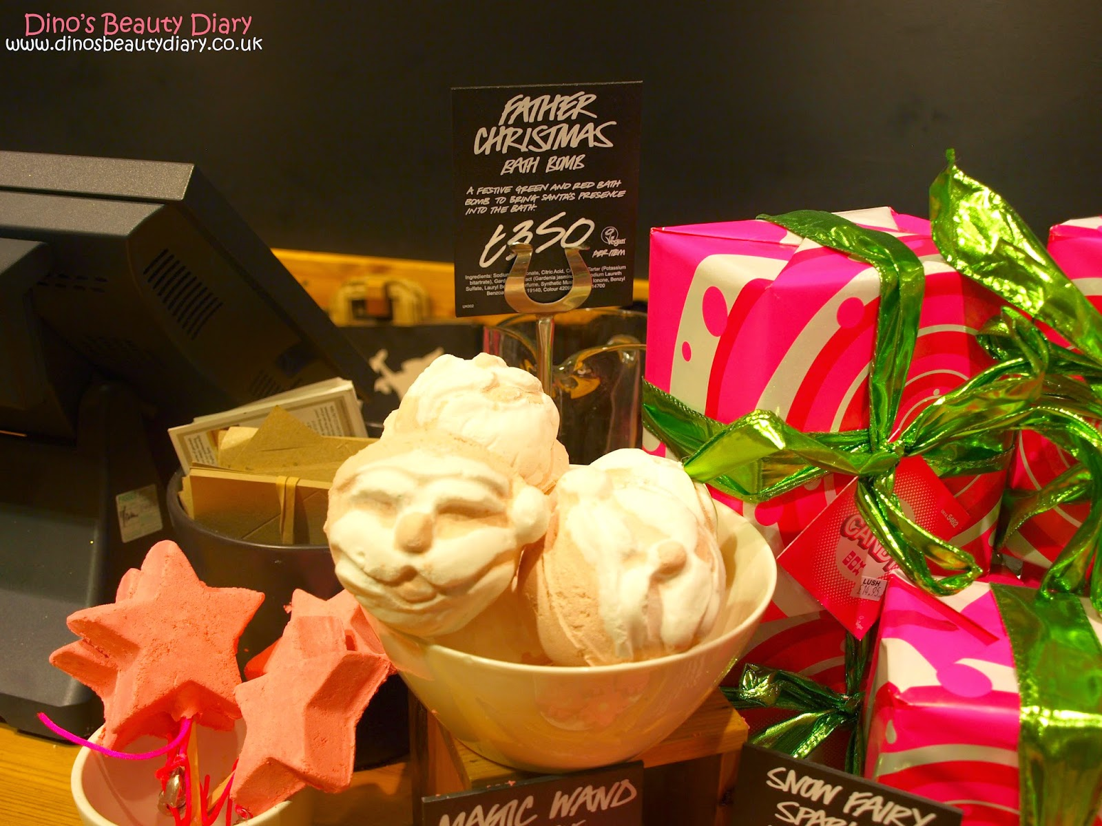Dino's Beauty Diary - Lush Nottingham Bloggers Event - father christmas bath bombs
