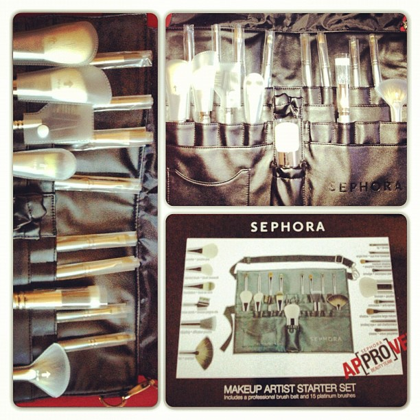 fef72d7e146 This set comes with 15 brushes and a faux leather brush belt with  adjustable strap.