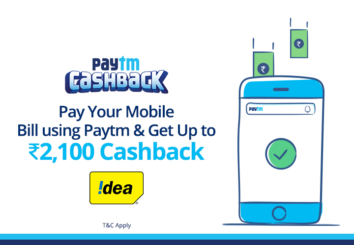 Pay idea Postpaid bill and get upto 2100 cashback via promocode