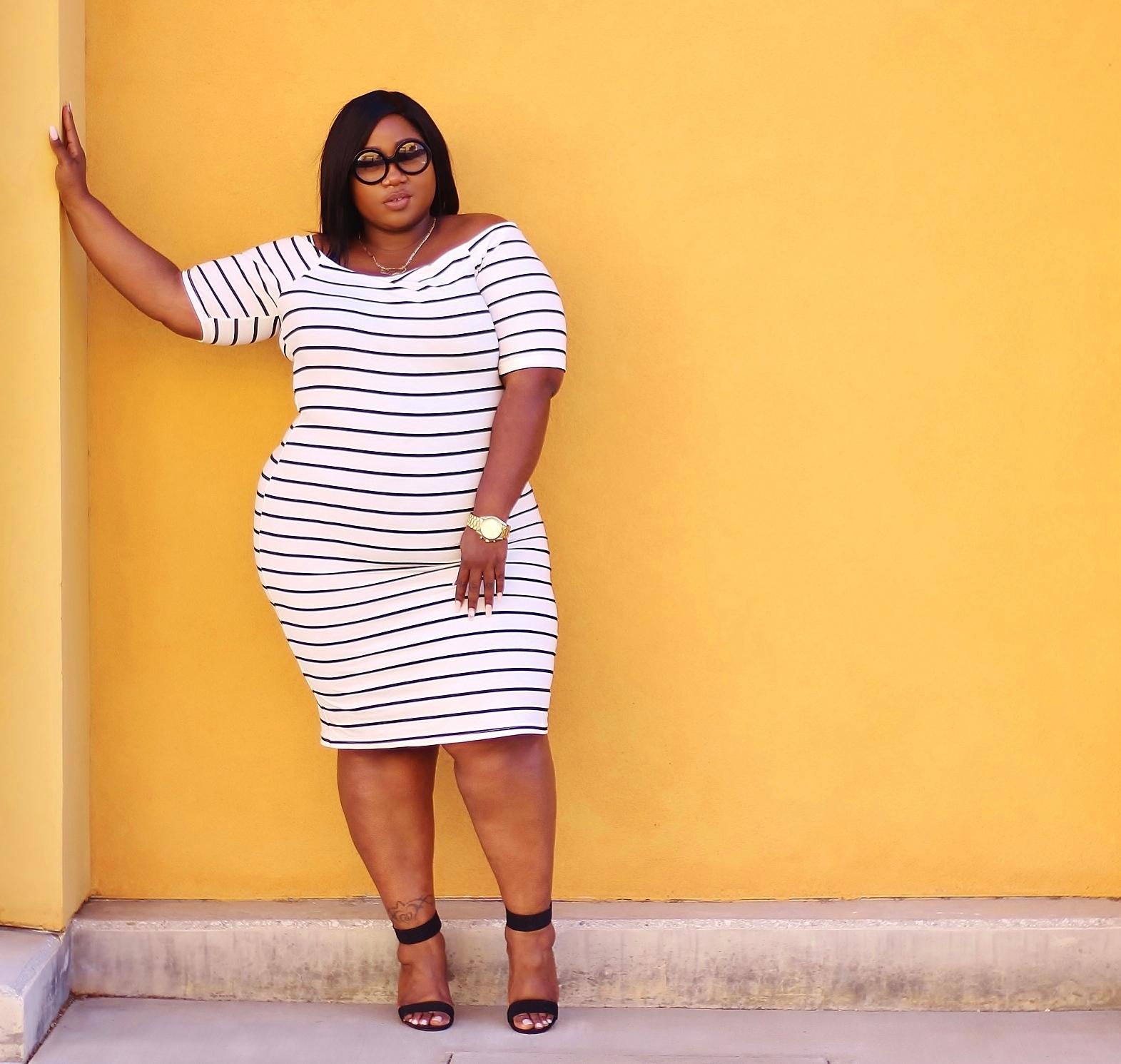rainbow plus size striped dress