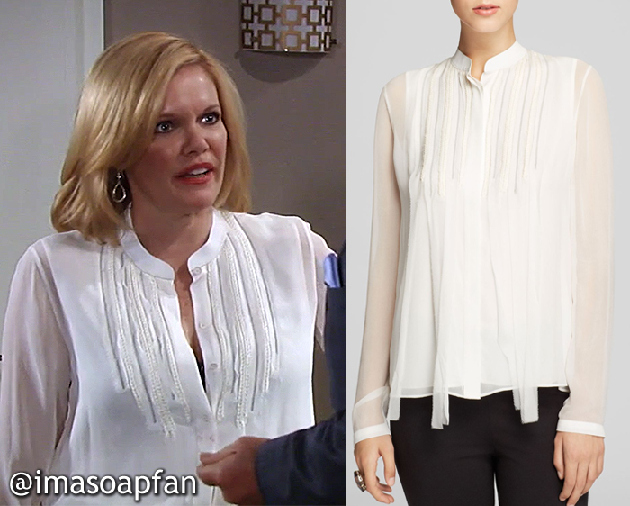 Ava Jerome, Maura West, White Silk Chiffon Blouse with Braided Trim, Elie Tahari, GH, General Hospital