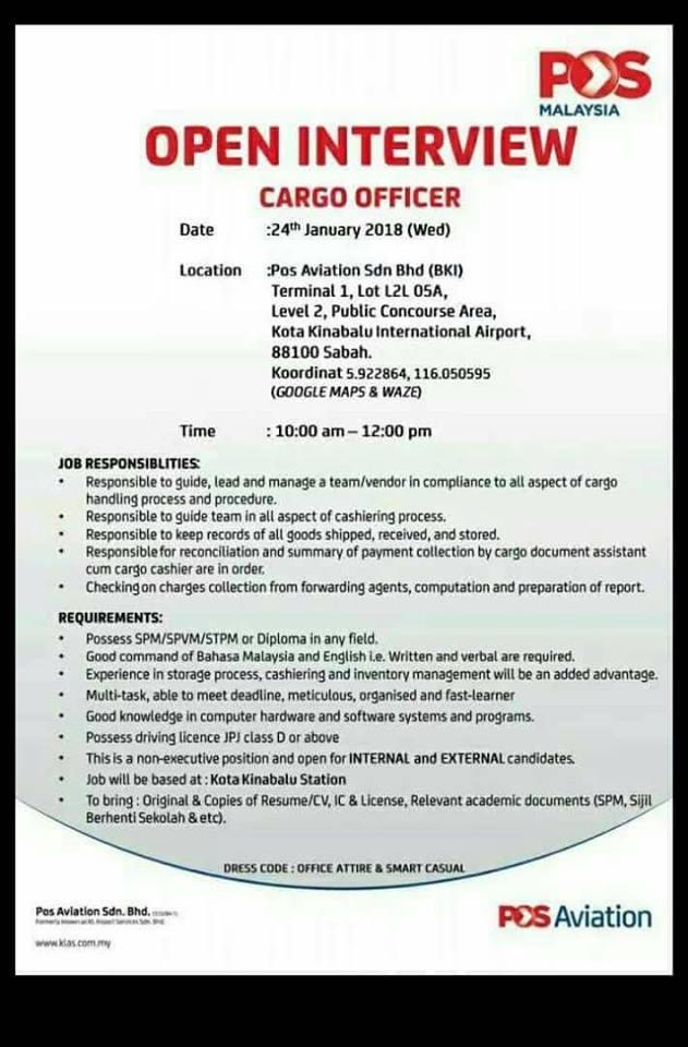 Maklumat Lanjut Dan Kelayakan Untuk Jawatan Kosong Cargo Officer Pos Aviation Kota Kinabalu