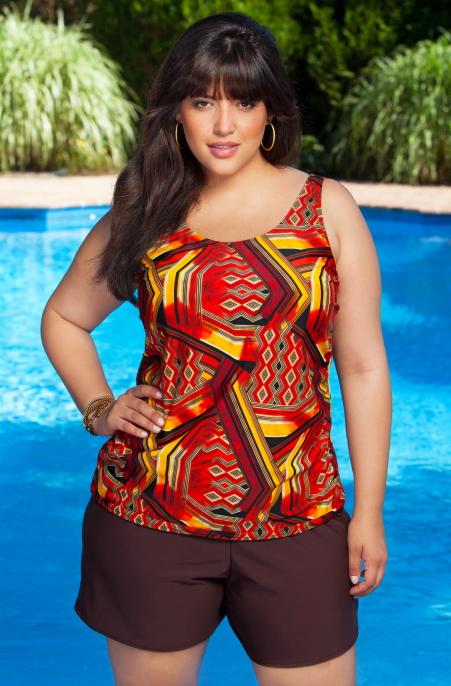 49fd68b935f49 Women s Plus Size Swimwear - Always 4 Me - Tribal Tankini w  Swim Shorts  Style   AFM393 Our Price  59.00