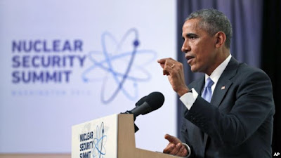 Obama speaks during his 'nuclear summit' in Washington. Russia skipped the show.