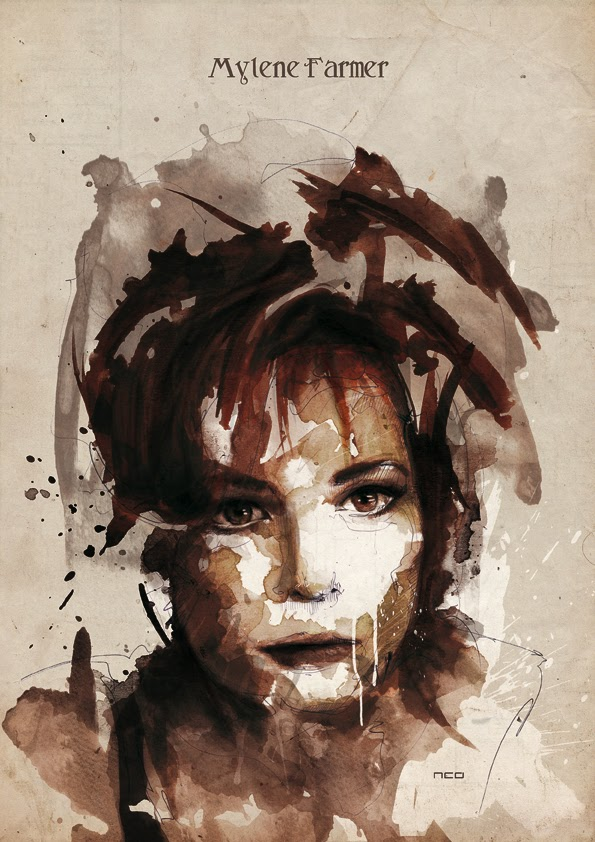 27-Mylene-Farmer-Florian-Nicolle-neo-Portrait-Paintings-focused-on-Expressions-www-designstack-co